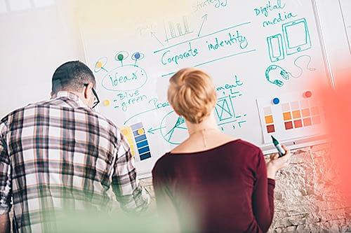 leverer noe av det viktigste du trenger, idéer. Ikke hvilke som helst idéer, men idéer som skal løse en konkret oppgave, få budskapet ditt ut til de du skal nå mest mulig effektivt.