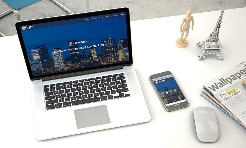 PC og mobil webdesign for North Consultants