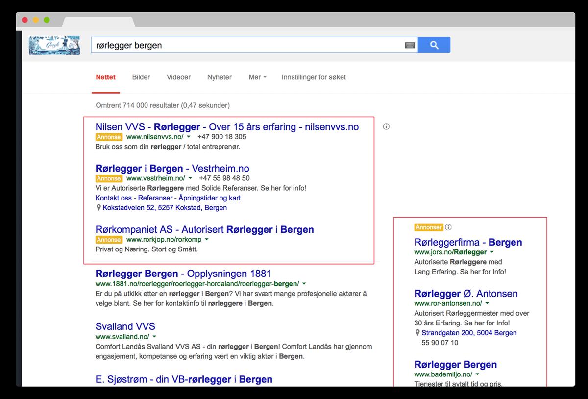 Eksempel på AdWords søk. Google Adwords gir kvalifisert trafikk til din hjemmeside. Du betaler kun for de som klikker inn på siden din