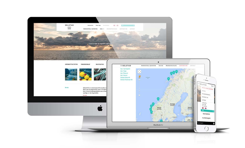 Nettside utviklet for Selstad vist som responsivt design