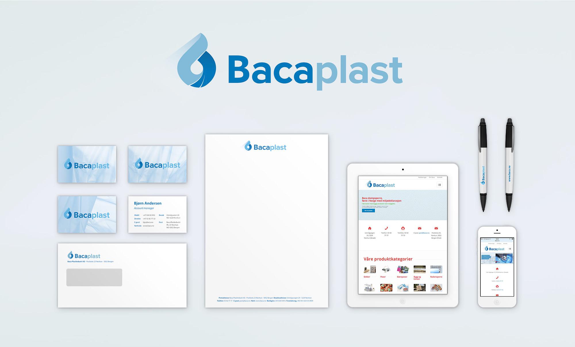 Merkantile trykksaker, nettside, visittkort som del av grafisk profil for Bacaplast