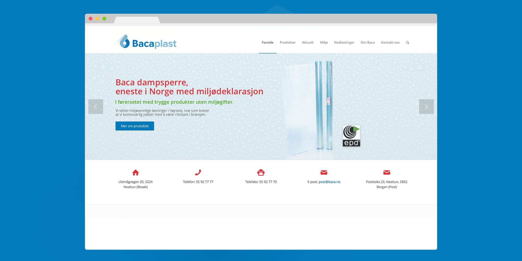 Grafisk profil for Baca plast web design